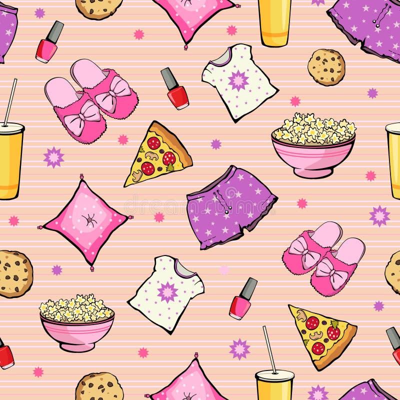 Wektoru sen przyjęcia Różowy jedzenie Protestuje Bezszwowego ilustracja wektor