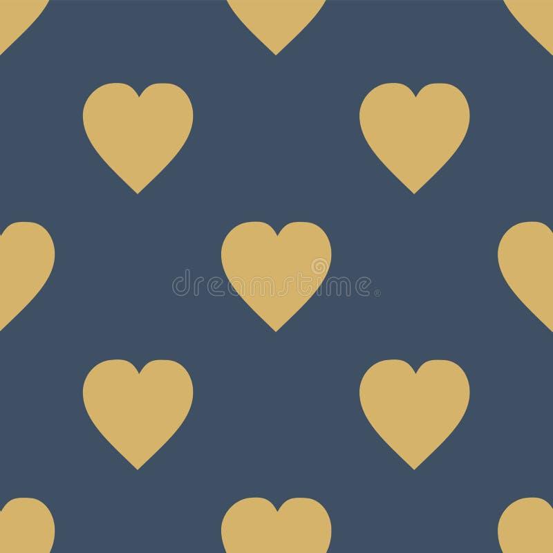 wektoru serc ilustraci wzoru rosnący wektor Płaski skandynawa styl dla druku na tkaninie, prezenta opakunek, sieci tło Bezszwowy  royalty ilustracja