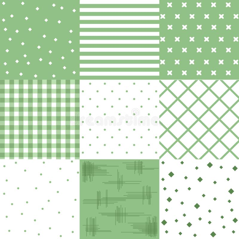 Wektoru setu zieleń, śliczni bezszwowi wzory royalty ilustracja