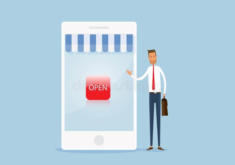 wektoru sklepu biznesu i zakupy otwarta online wisząca ozdoba royalty ilustracja