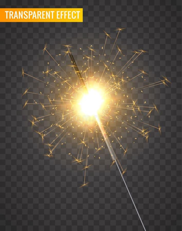 Wektoru sparkler lekka dekoracja Wakacyjny sparkler fajerwerku tło odizolowywał Bengal jaskrawego światło royalty ilustracja