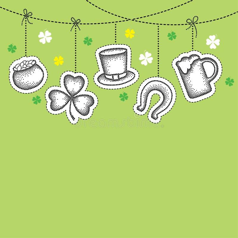 Wektoru St Patrick dnia łata w dotwork stylu Kropkowana szczęsliwa koniczyna, shamrock, garnek monety, piwny szkło, podkowa lub k royalty ilustracja