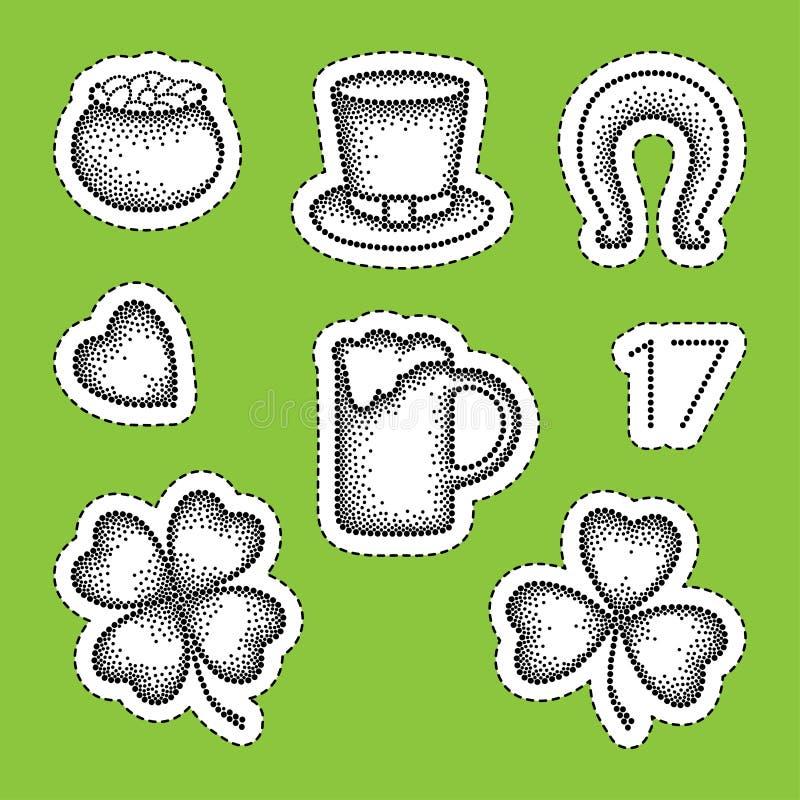 Wektoru St Patrick dnia łaty odznaki w dotwork projektują Kropkowana szczęsliwa koniczyna, shamrock, garnek monety, piwo, podkowa royalty ilustracja