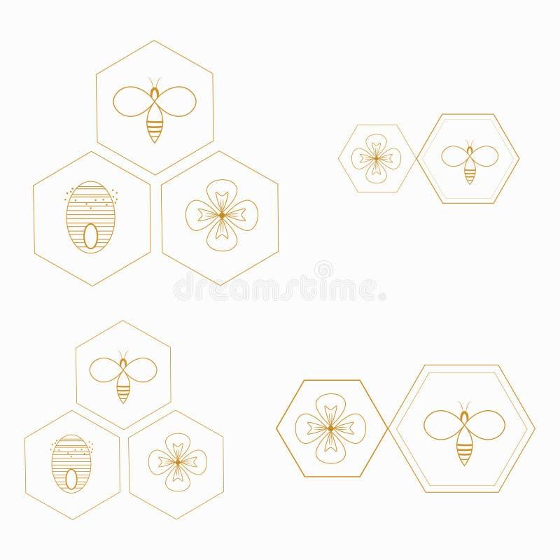 Wektoru stylizowany honeybee Logo z czarny i biały pszczołą Sylwetka osa tła błękitny dragonfly latający insekt Tatuaż royalty ilustracja