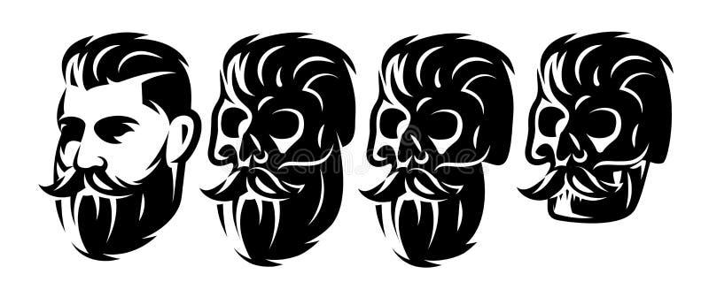 Wektoru stylu set z samiec czaszkami z i głową brodą i wąsy royalty ilustracja