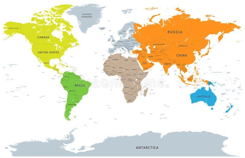 Wektoru Szczegółowego kontynentu Światowa mapa ilustracja wektor