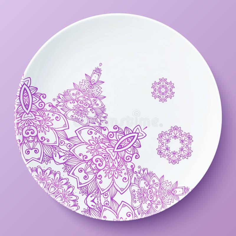 Wektoru talerz z różowym ozdobnym wzorem royalty ilustracja