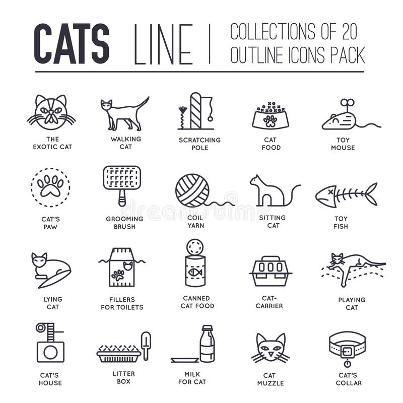 Wektoru trakenu kotów cienkie kreskowe ikony ustawiać Ślicznego konturu ilustracj zwierzęcia domowego zwierzęcy projekt Kolekci f ilustracja wektor