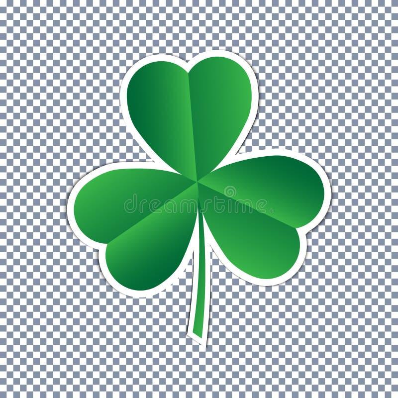 Wektoru trzy liścia koniczynowego majcheru płaska ikona na przejrzystym tle ilustracja wektor