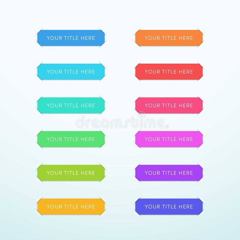 Wektoru Tytułowego sztandaru Kolorowy Papierowy Ciie Za pasków 12 secie ilustracji