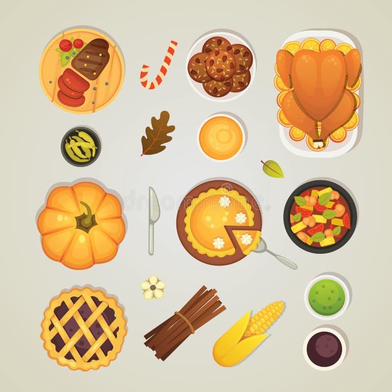 Wektoru ustalonego dziękczynienia obiadowe ikony, odgórny widok Jedzenie na stole: pieczony indyk, kulebiak, kumberland, bania, w ilustracji