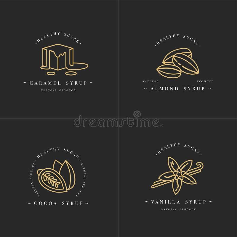 Wektoru ustalonego projekta szablonów złoty logo i emblematy - syropy i karmel, migdał, kakao, wanilia Karmowa ikona ilustracji