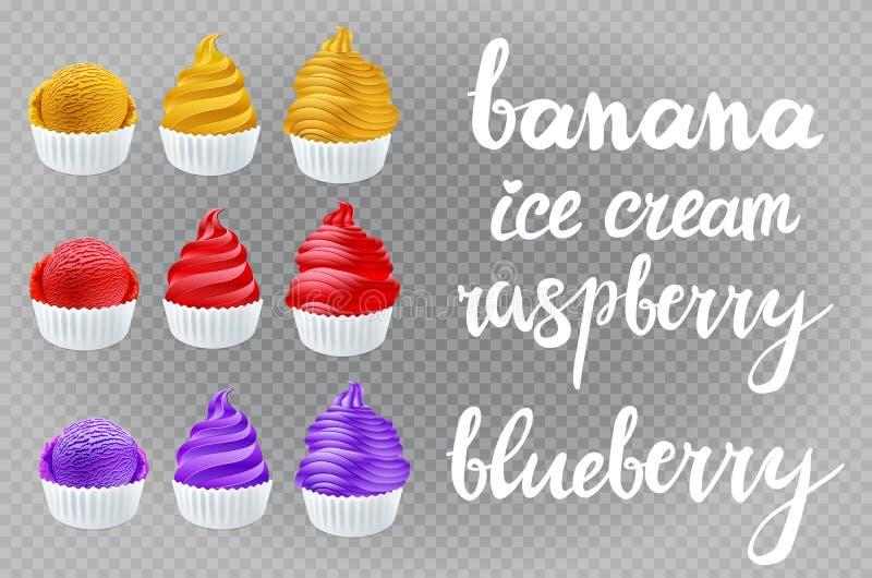 Wektoru ustalony żółty banan, czerwona malinka, błękitna fiołkowa czarna jagoda, waniliowy lody w rożku na przejrzystym tła liter ilustracja wektor