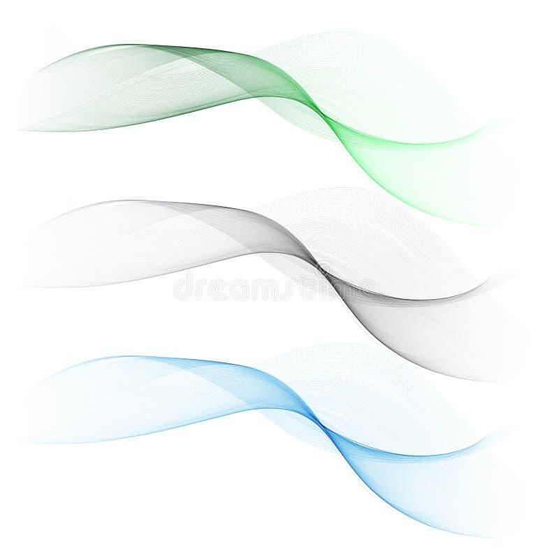 Wektoru ustalony abstrakcjonistyczny falowy wzór niebieski fale Zielona fala Szarości fala Przejrzysty fala set Dymna fala ilustracji