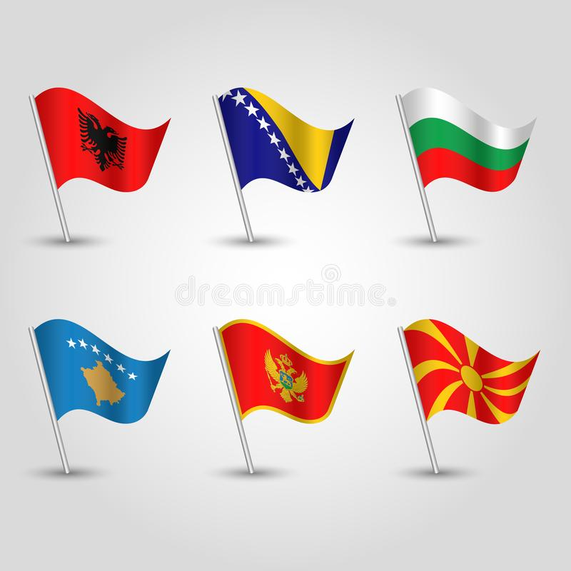 Wektoru ustalony falowanie zaznacza balkan półwysep na srebnym słupie, - ikona stany Europe, Albania, Bosnia i Herzegovina southe royalty ilustracja