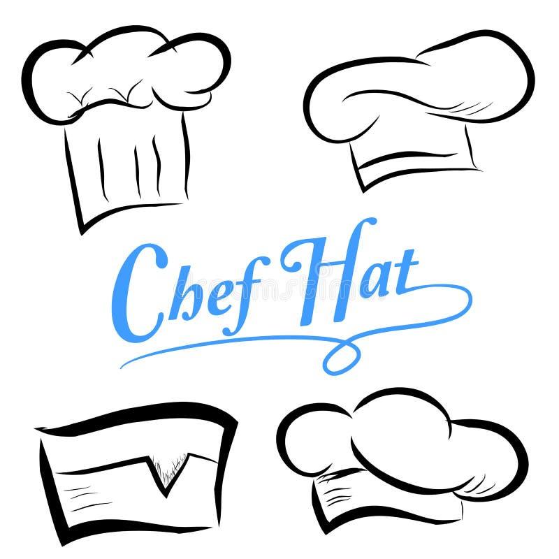 Wektoru ustalony nakreślenie szefów kuchni kapelusze, odizolowywający na bielu ilustracji