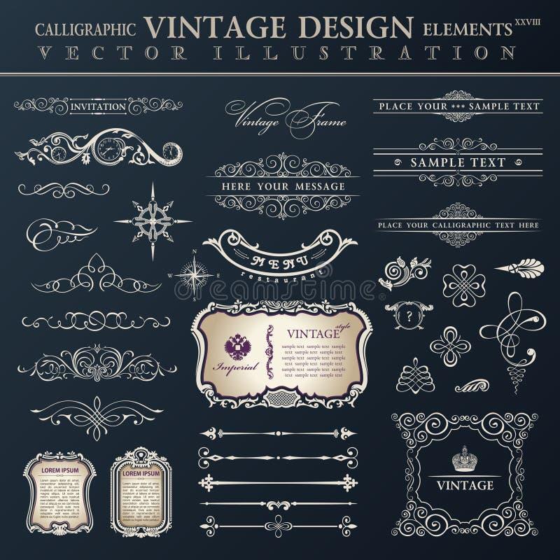 Wektoru ustalony rocznik Kaligraficzni projektów elementy i stron decora ilustracji