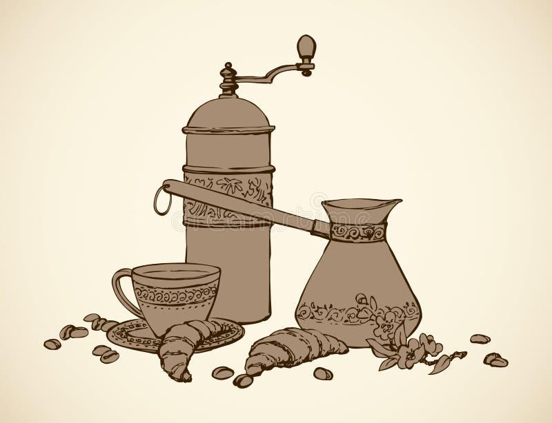 Wektoru wciąż życie sosowana kawa ilustracja wektor