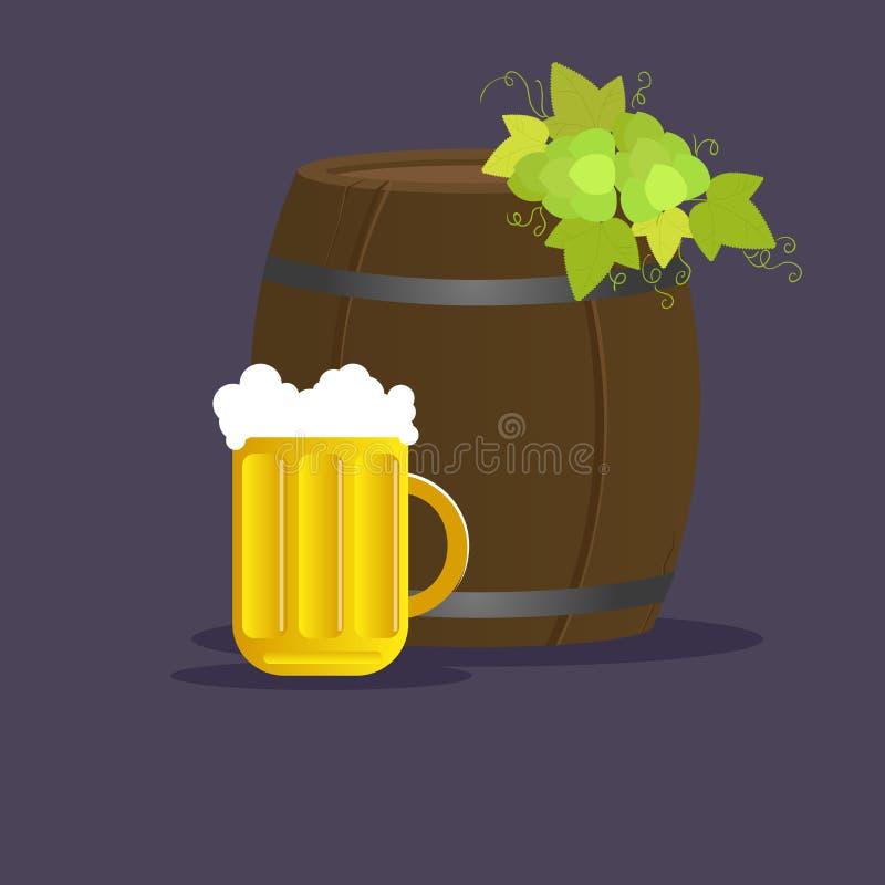 Wektoru wciąż życie z baryłką piwo i kubek royalty ilustracja