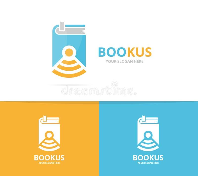 Wektoru wifi i książki loga kombinacja Powieść, sygnał ikona i symbol lub ilustracja wektor
