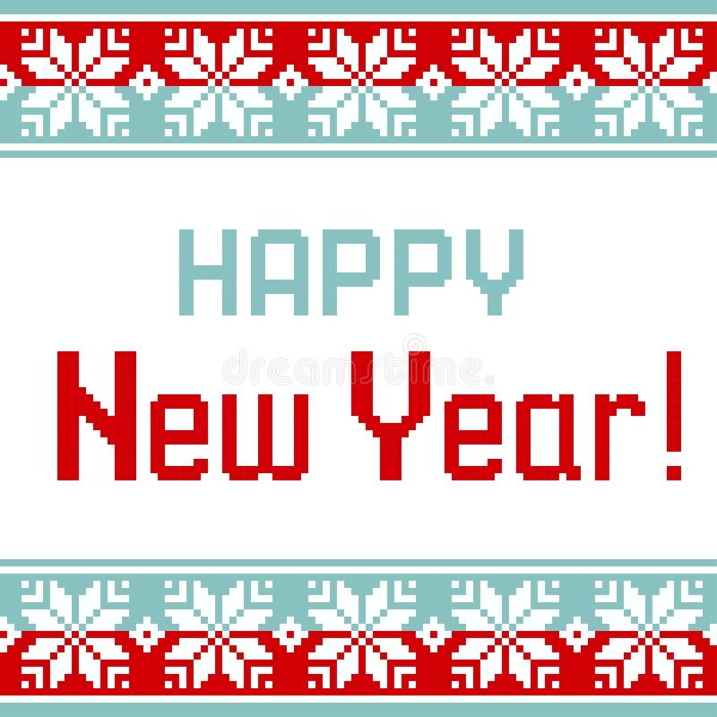 Wektoru wzór dla dziewiarskiej kartki z pozdrowieniami z teksta Szczęśliwym nowym rokiem royalty ilustracja