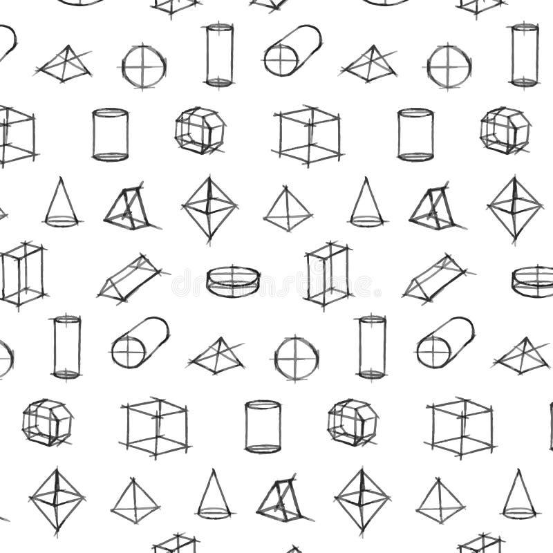 Wektoru wzór Geometryczna ręka Rysujący kształta nakreślenie na białym tle ilustracji