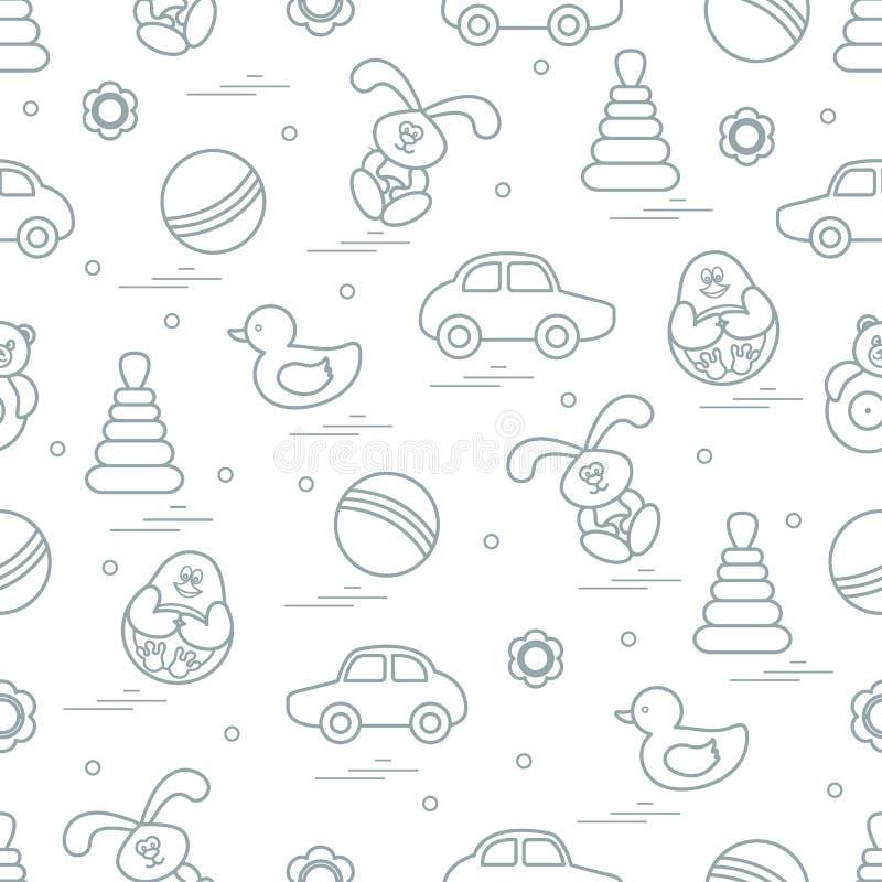 Wektoru wzór różne zabawki: samochód, ostrosłup balowy, poli-, royalty ilustracja