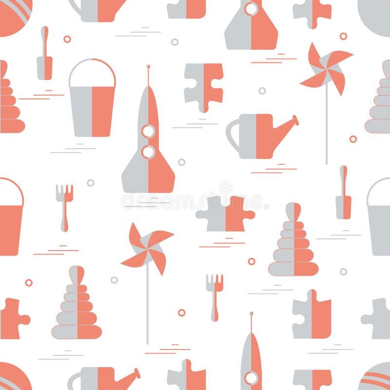 Wektoru wzór różni dzieciak zabawek przedmioty: rakieta, łamigłówka, b ilustracji