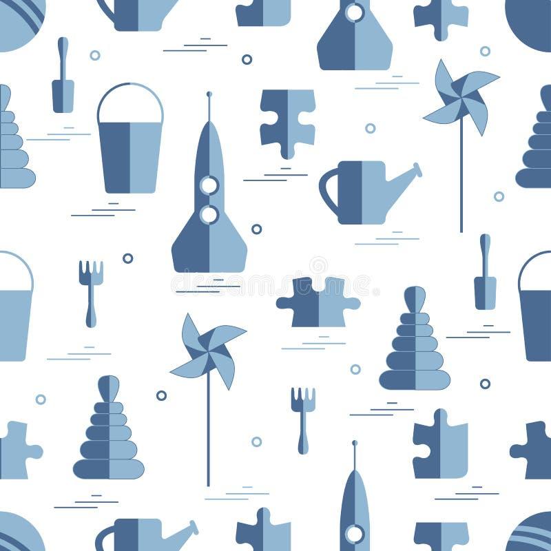 Wektoru wzór różni dzieciak zabawek przedmioty: rakieta, łamigłówka, b ilustracja wektor