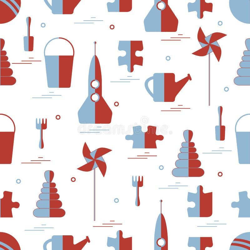 Wektoru wzór różni dzieciak zabawek przedmioty: rakieta, łamigłówka, b royalty ilustracja
