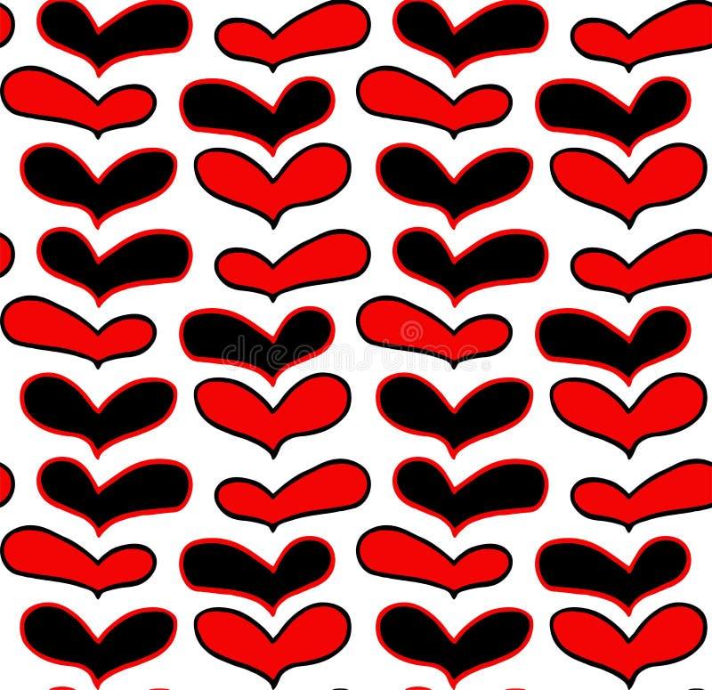 Wektoru wzór ręki rysujący czerwoni czarni serca w doodling stylu na białym tle ilustracja wektor