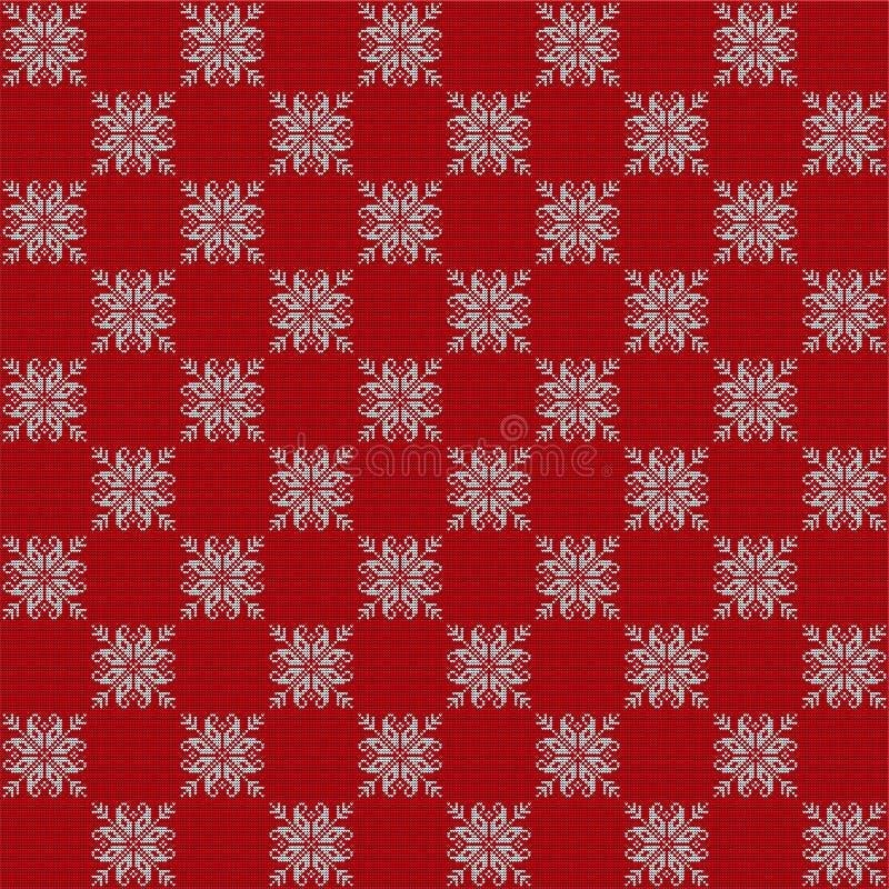 Wektoru wzór stylizujący jako trykotowa wełny tkanina z wizerunkiem Skandynawski płatek śniegu deseniuje czerwieni i bielu kolor obraz royalty free