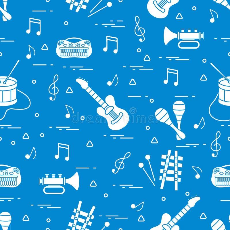 Wektoru wzór szkotowa muzyka i różne muzykalne zabawki: gitara ilustracja wektor