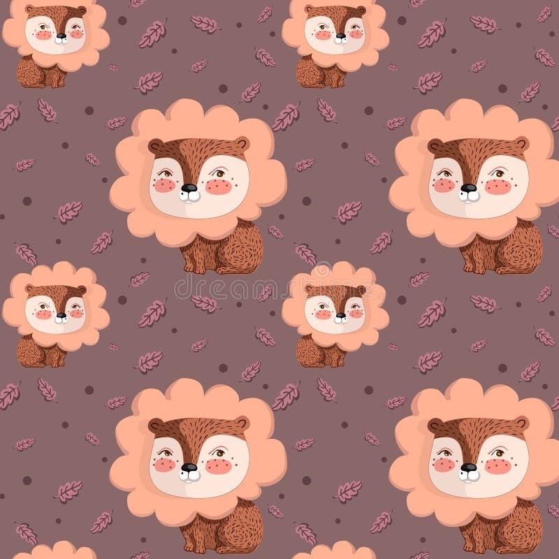 Wektoru wzór z ślicznym lwem na różowych tła i dębu liściach ilustracji