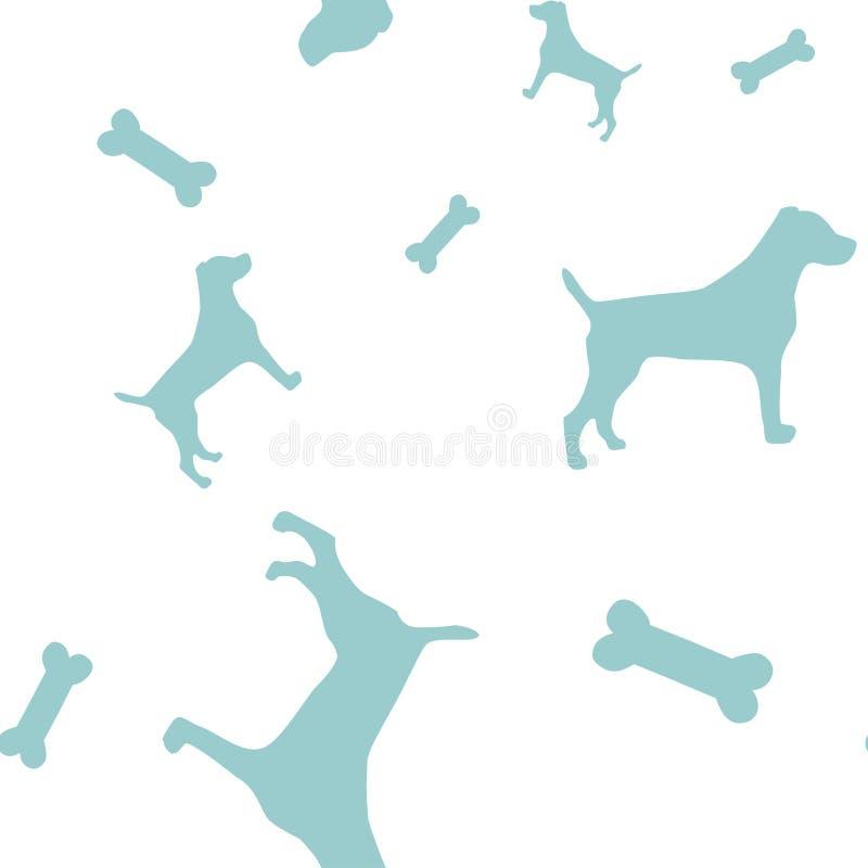 Wektoru wzór z błękitnymi kościami i psami zdjęcie stock