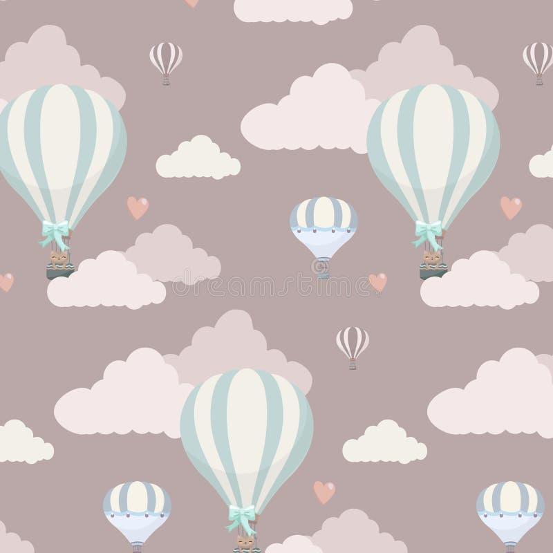 Wektoru wzór z balonem, chmurami i zwierzętami, ilustracja wektor