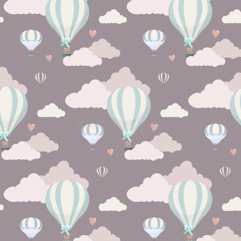 Wektoru wzór z balonem, chmurami i zwierzętami, royalty ilustracja