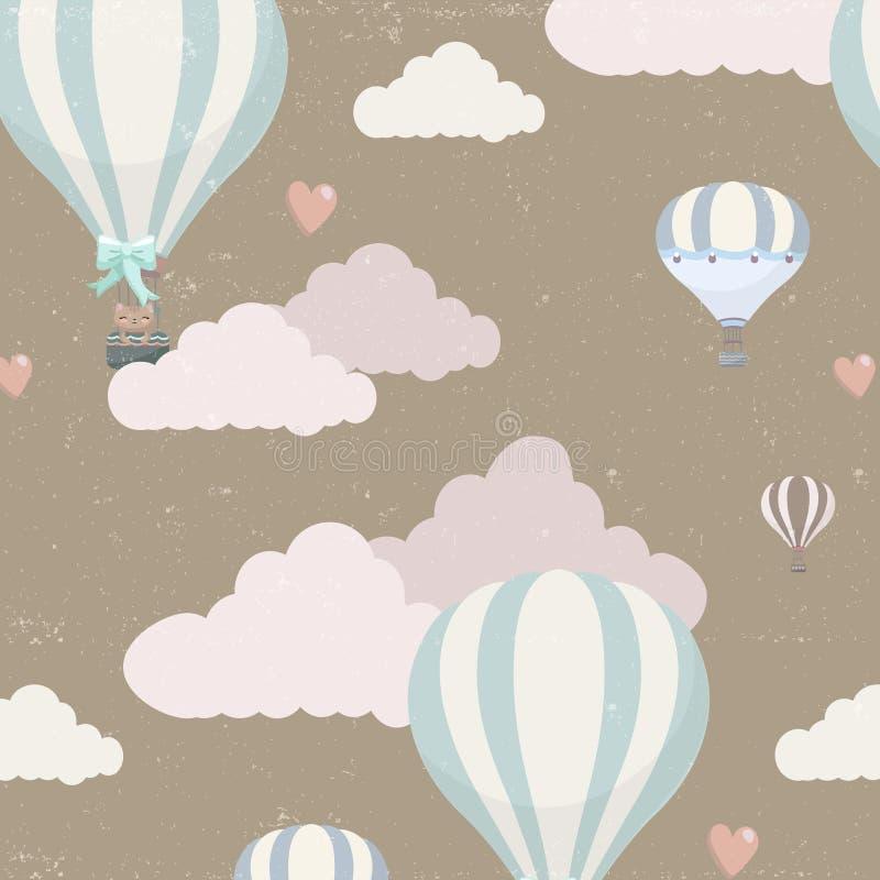 Wektoru wzór z balonem, chmurami i zwierzętami, ilustracji