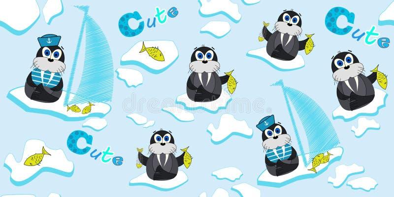 Wektoru wzór z morsami które unoszą się na lodowym floe i łowią Ilustracja kreskówka lód royalty ilustracja