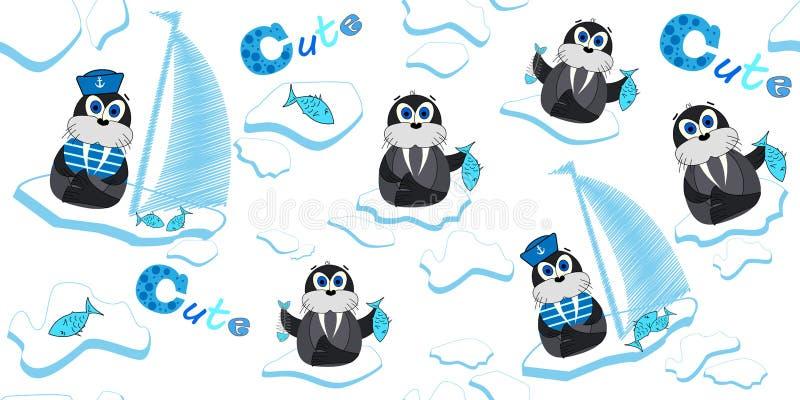 Wektoru wzór z morsami które unoszą się na lodowym floe i łowią Ilustracja kreskówka lód Druki dla dziecka ` s odzieży ilustracji