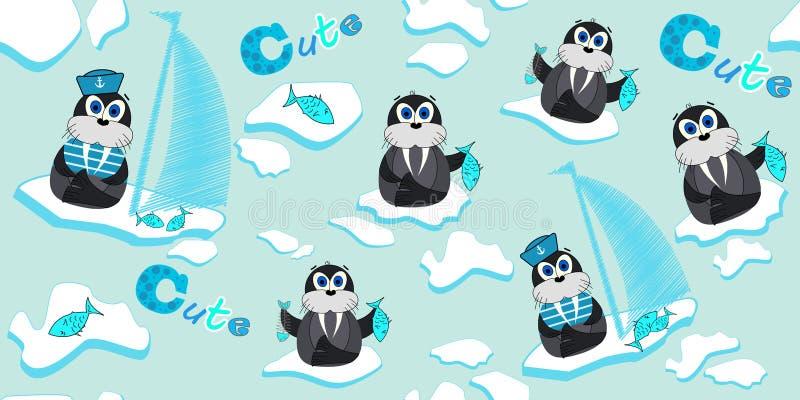 Wektoru wzór z morsami które unoszą się na lodowym floe i łowią Ilustracja kreskówka lód Druki dla dziecka ` s odzieży royalty ilustracja