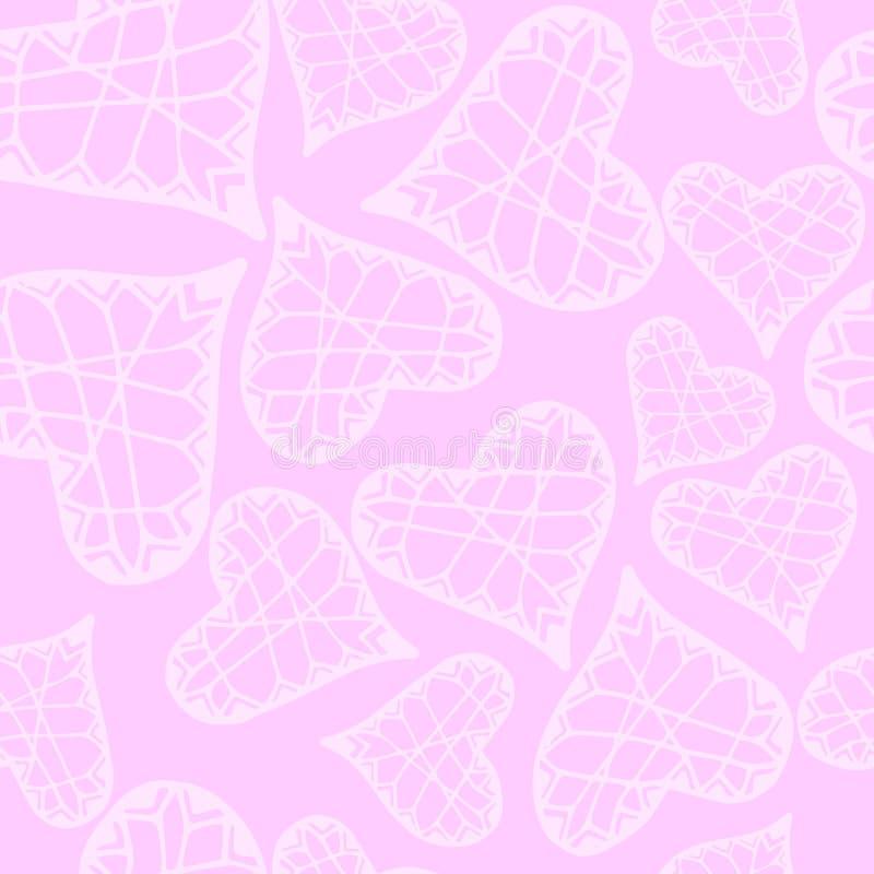 Wektoru wzór z ręki rysującymi sercami dla tkanina druku, papierowa karta, stołowy płótno, tkanina, moda na białym tle ilustracji