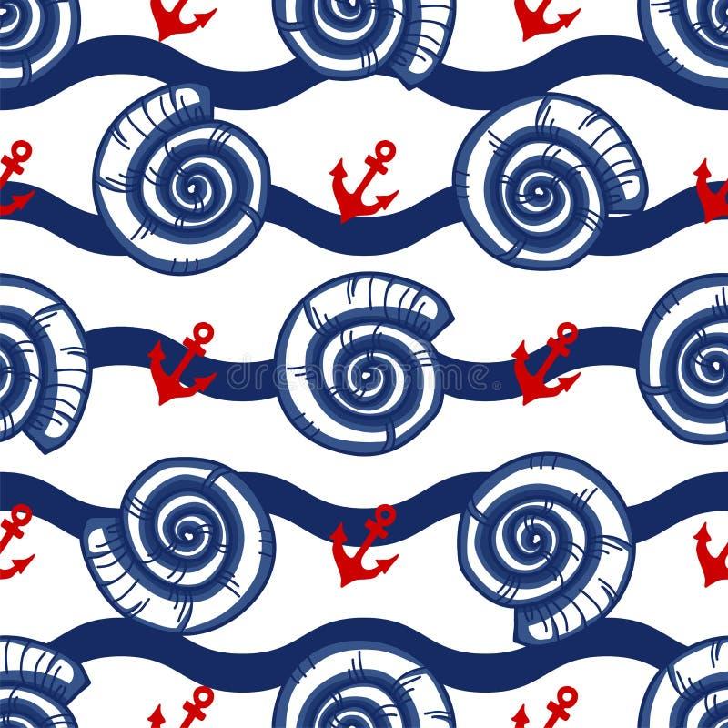 Wektoru wzór z seashells, morze macha i zakotwicza ilustracja wektor