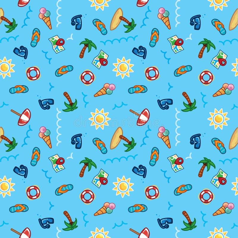 Wektoru wzoru plaży wakacje, lato temat, drzewka palmowe, słońce, denna tapeta ilustracji