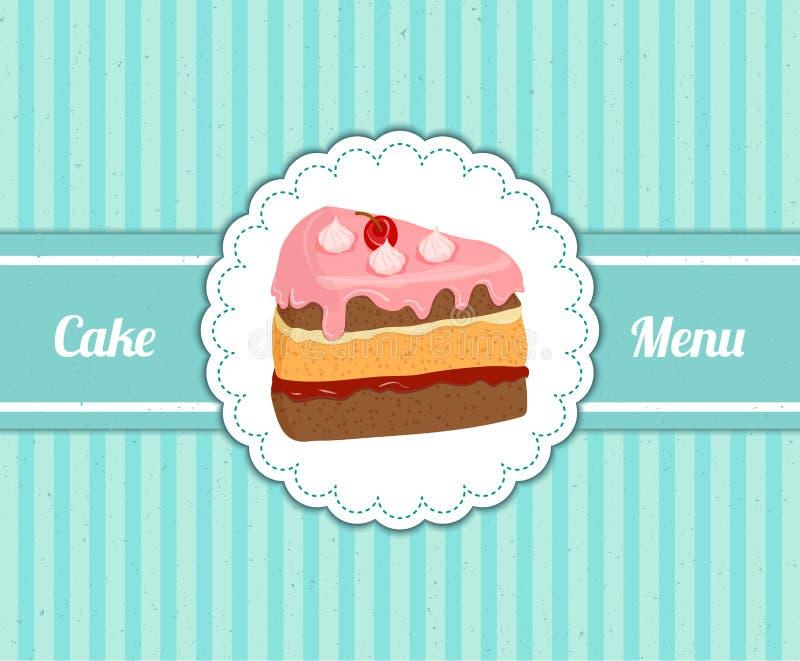 Wektoru wzoru pokrywa z plasterkiem wyśmienicie tort deseru menu dla kawiarni ilustracja wektor