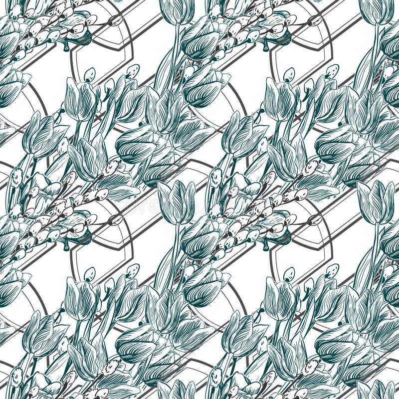 Wektoru wzoru roślina graweruje atramentów tulipanów geometrii wierzby ilustracji
