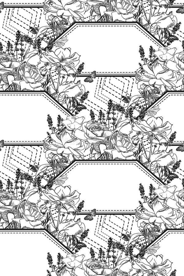 Wektoru wzoru roślina graweruje atrament gałąź nakreślenie royalty ilustracja