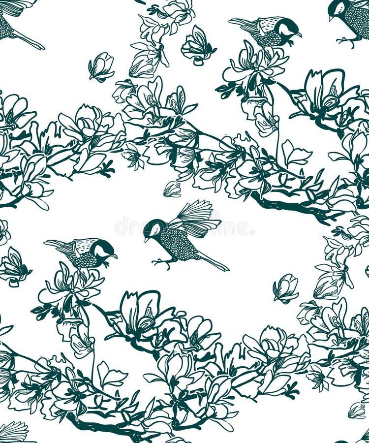 Wektoru wzoru roślina graweruje atrament magnolii ptaki royalty ilustracja