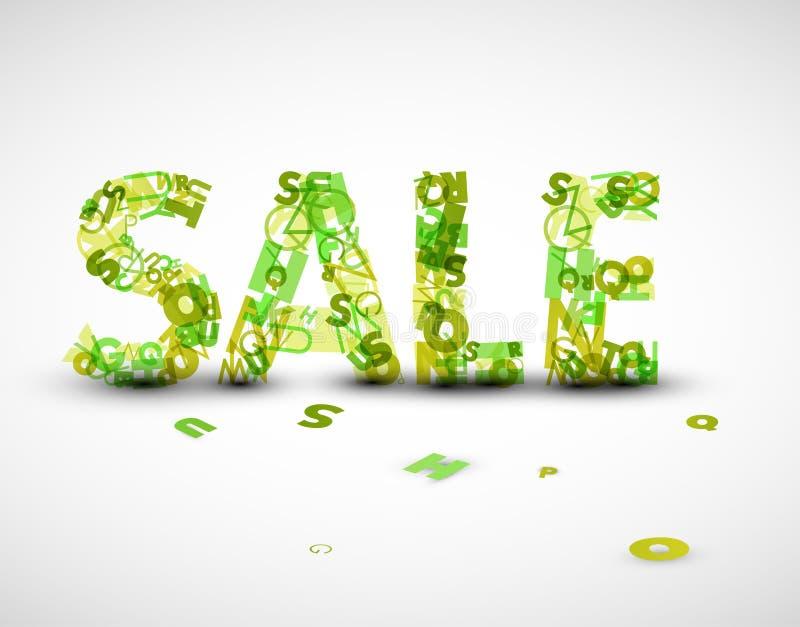 Wektoru zielona sprzedaży etykietka robić od listów ilustracja wektor