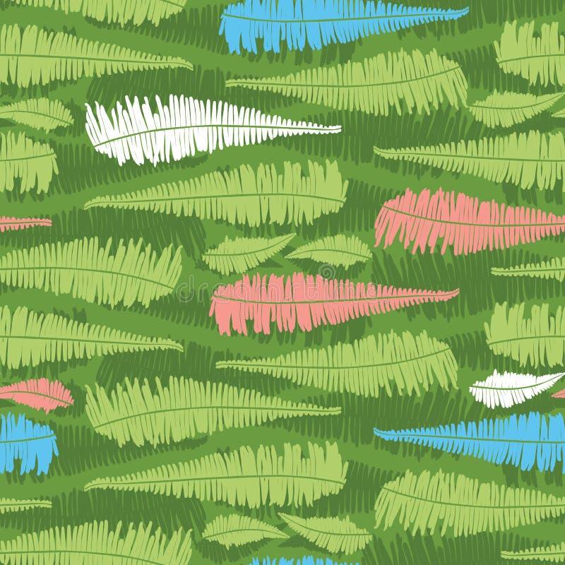Wektoru zielony bezszwowy wzór z paprocią opuszcza lampasy Stosowny dla tkaniny, prezenta opakunku i tapety, royalty ilustracja